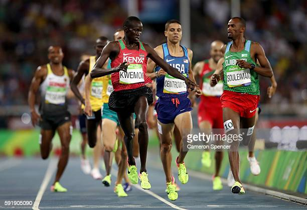 Ronald Kwemoi of Kenya and Ayanleh Souleiman of Djibouti compete in the Men's 1500m Semifinal on Day 13 of the Rio 2016 Olympic Games at the Olympic...