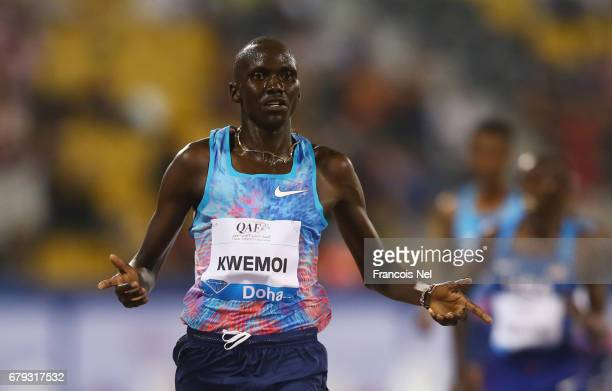Ronald Kwemoi of Kenya celebrates as he wins the Men's 3000 metres during the Doha IAAF Diamond League 2017 at the Qatar Sports Club on May 5 2017 in...
