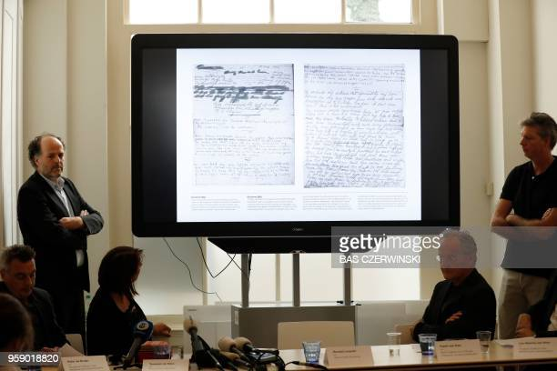 Ronald Leopold , executive director of the Anne Frank House, presents two unknown pages of Anne Frank's diary, during a press conference on May 15,...
