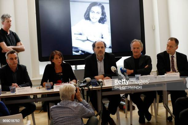 Ronald Leopold executive director of the Anne Frank House speaks during a press conference to present two unknown pages of Anne Frank's diary on May...