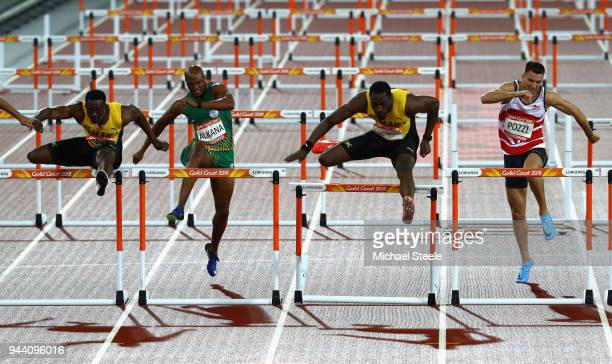 Ronald Levy of Jamaica Antonio Alkana of South Africa Hansle Parchment of Jamaica and Andrew Pozzi of England compete in the Men's 110 hurdles final...