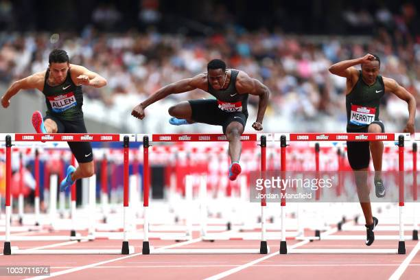 Ronald Levy of Jamaica competes on his way to victory in Men's 110m Hurdles during Day Two of the Muller Anniversary Games at London Stadium on July...