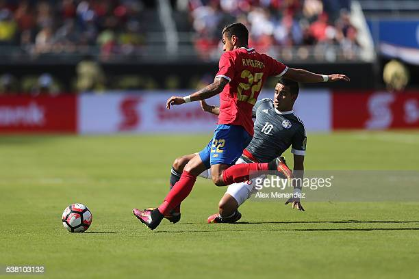 Ronald Matarrita of Costa Rica and Derlis Gonzalez of Paraguay fight for the ball during the 2016 Copa America Centenario Group A match between Costa...