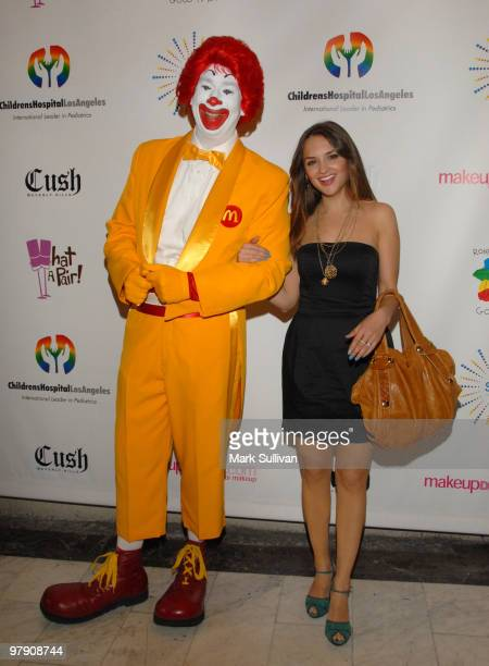 Ronald McDonald and actress Rachael Leigh Cook arrive at SING concert benefitting Camp Ronald McDonald at Orpheum Theatre on March 20 2010 in Los...