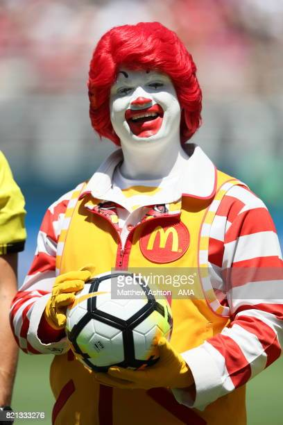 Ronald McDonald holds the match ball during the International Champions Cup 2017 match between Real Madrid v Manchester United at Levi'a Stadium on...