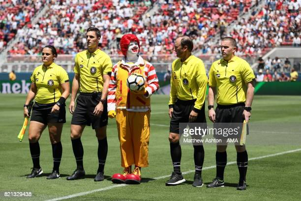 Ronald McDonald walks out with the match ball prior to the International Champions Cup 2017 match between Real Madrid v Manchester United at Levi'a...