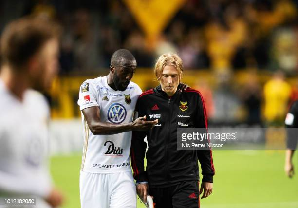 Ronald Mukibi and Simon Kroon of Ostersunds FK after the Allsvenskan match between IF Elfsborg and Ostersunds FK at Boras Arena on August 6 2018 in...