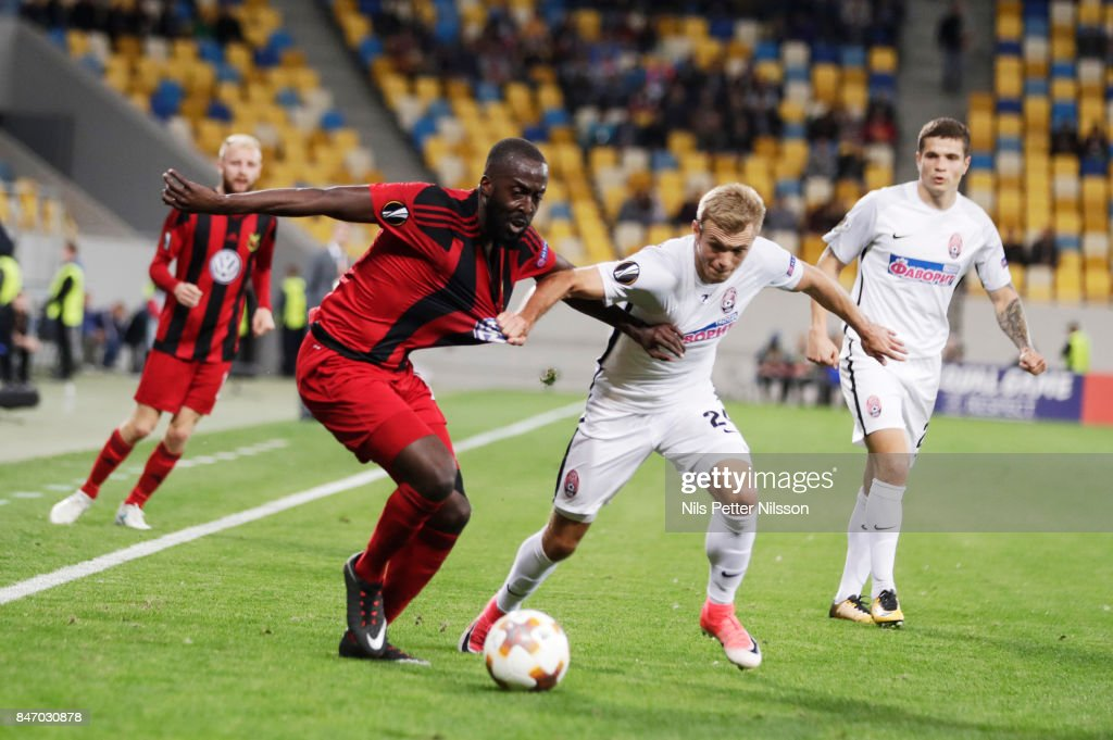 Ronald Mukibi of Ostersunds FK and Dmytro Grechyshkin of Zorya Luhansk competes for the ball during the UEFA Europa League group J match between Zorya Lugansk and Ostersunds FK at Arena Lviv on September 14, 2017 in Lviv, Ukraine.