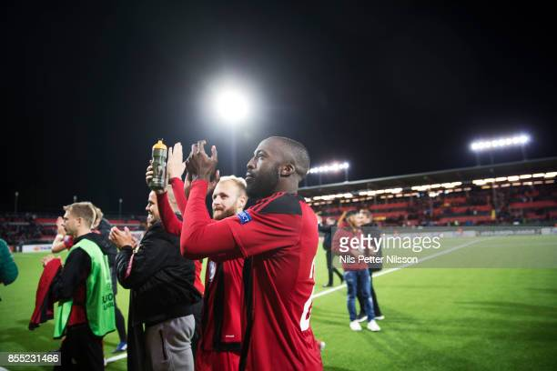 Ronald Mukibi of Ostersunds FK celebrates after the victory during the UEFA Europa League group J match between Ostersunds FK and Hertha BSC at...