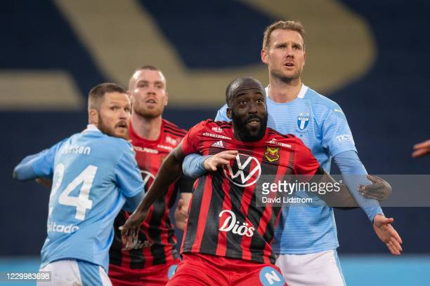 Ronald Mukiibi of Ostersunds FK and Ola Toivonen of Malmo FF during the Allsvenskan match between Malmo FF and Ostersunds FK at Eleda Stadion on...