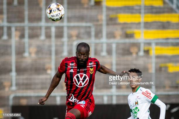 Ronald Mukiibi of Ostersunds FK during the Allsvenskan match between Ostersunds FK and Varbergs BoIS at Jamtkraft Arena on May 2, 2021 in Ostersund,...
