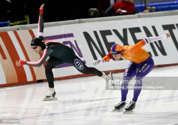 Ronald Mulder of the Netherlands beats Laurent Dubreuil of Canada to the finish line in their men's 500 meter race during the ISU World Sprint Speed...