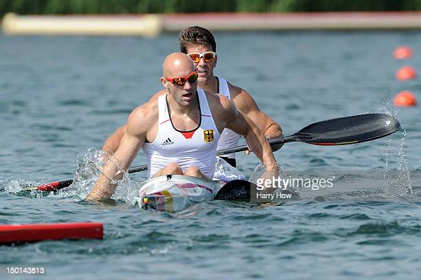 Ronald Rauhe and Jonas Ems of Germany cross the finish line in the Men's Kayak Double 200m Canoe Sprint on Day 15 of the London 2012 Olympic Games at...
