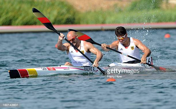 Ronald Rauhe and Jonas Ems of Germany in action during the Men's Kayak Double 200m Canoe Sprint on Day 15 of the London 2012 Olympic Games at Eton...