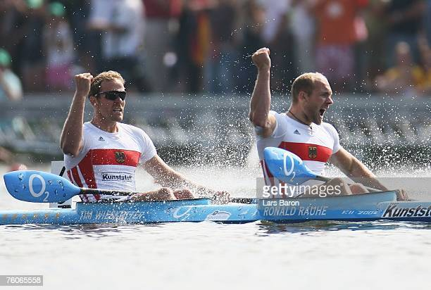 Ronald Rauhe and Tim Wieskoetter of Germany celebrate after winning the K2 500m final during the Canoe World Championship 2007 at the Regattabahn...