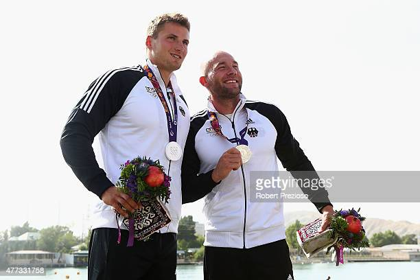 Ronald Rauhe and Tom Liebscher of Germany win Silver in the Kayak Double 200m Men during day four of the Baku 2015 European Games at Mingachevir on...