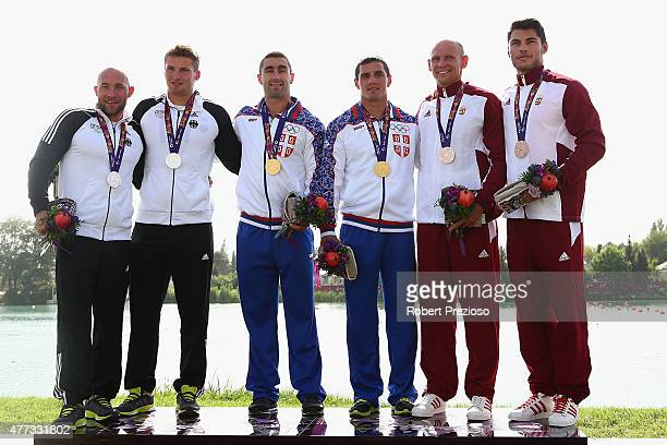 Ronald Rauhe and Tom Liebscher of Germany win Silver Nebojsa Grujic and Marko Novakovic of Serbia win Gold and Sandor Totka and Peter Molnar of...