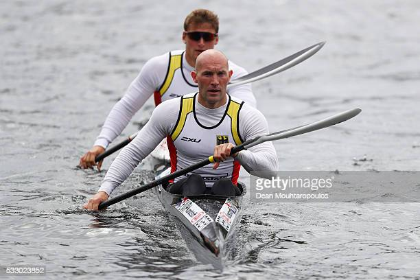 Ronald Rauhe and Tom Liebscher of Germnay paddle after competing in the K2 M 200 during Day 1 of the ICF Canoe Sprint World Cup 1 held at Sportpark...