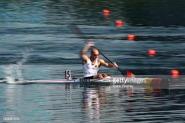 Ronald Rauhe of Germany competes in the Men's Kayak Single 200m Canoe Sprint heats on Day 14 of the London 2012 Olympic Games at Eton Dorney on...