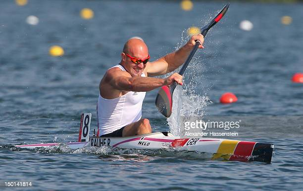Ronald Rauhe of Germany competes in the Men's Kayak Single 200m Canoe Sprint on Day 15 of the London 2012 Olympic Games at Eton Dorney on August 11...