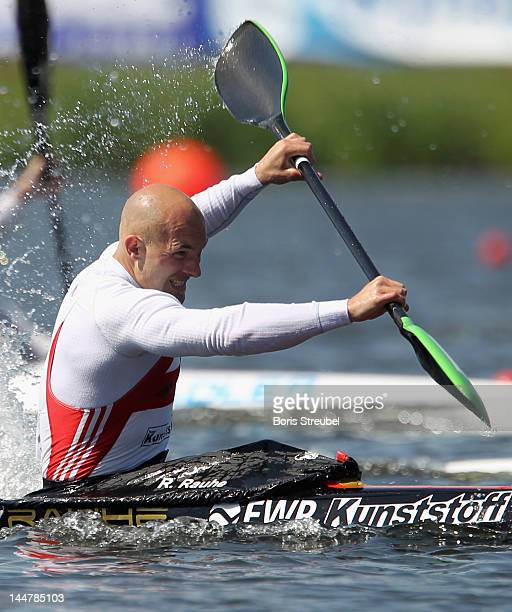 Ronald Rauhe of Germany competes in the men's kayak single 200m heat during day two of the ICF Canoe Sprint World Cup 2012 at Malta Regatta Course on...