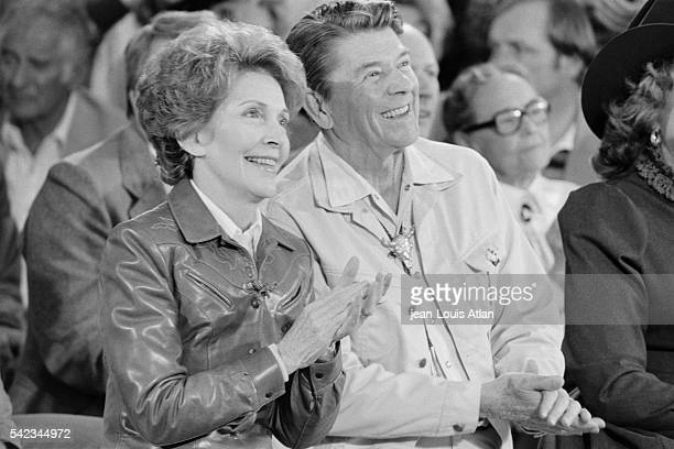 Ronald Reagan and his wife Nancy celebrate their 30th wedding anniversary at the Sierra Grande Ranch near Santa Barbara A barbecue and country...