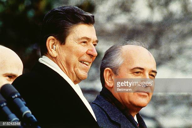 Ronald Reagan and Secretary Gorbachev at the welcoming ceremony at the East Lawn of the White House