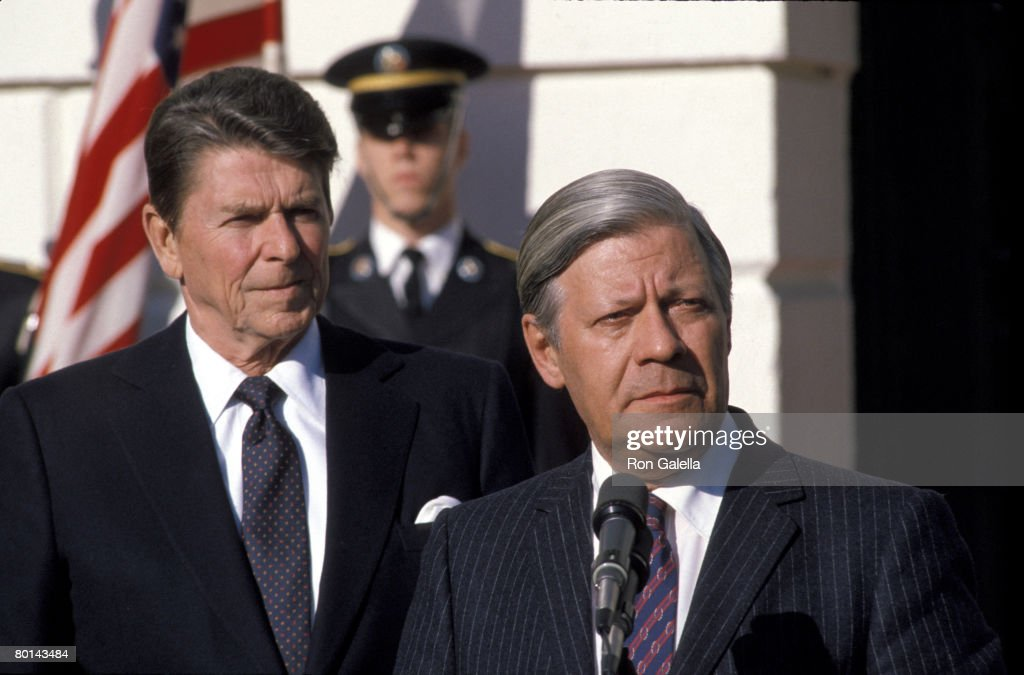Ronald Reagan and West German Chancellor Helmut Schmidt