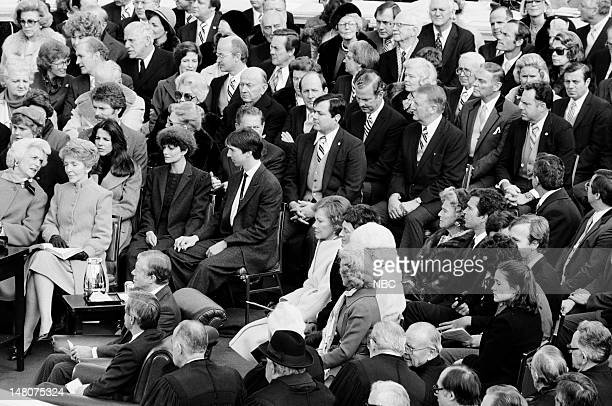 NBC NEWS 'Ronald Reagan First Presidential Inauguration' Pictured Second Lady Barbara Bush First Lady Nancy Reagan former US President Jimmy Carter...