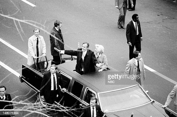 NBC NEWS 'Ronald Reagan First Presidential Inauguration' Pictured US Vice President George Bush Second Lady Barbara Bush during the first...
