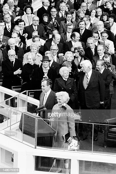 NBC NEWS Ronald Reagan First Presidential Inauguration Pictured Vice Presidentelect George Bush Second Lady Barbara Bush Mildred O'Neill House...