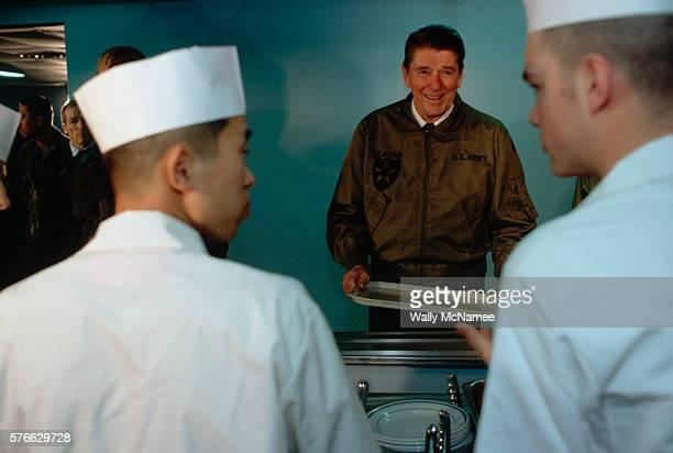 Ronald Reagan Going Through Chow Line