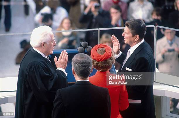 Ronald Reagan is sworn into office January 211981 in Washington DC