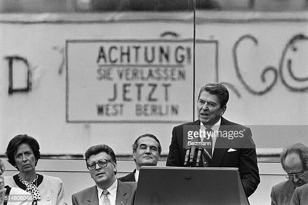 Ronald Reagan making his famous challenge to Mikhail Gorbachev to tear down the Berlin Wall