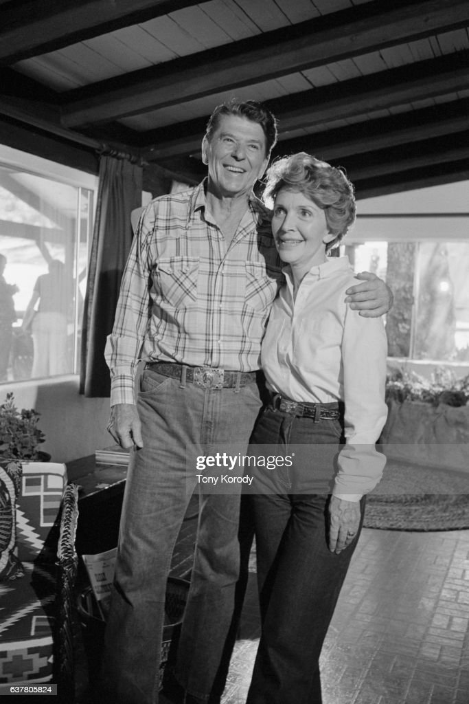 Ronald Reagan, nominee of the Republican Party for the 1980 presidential election, with his second wife Nancy Davis, at their ranch in California.