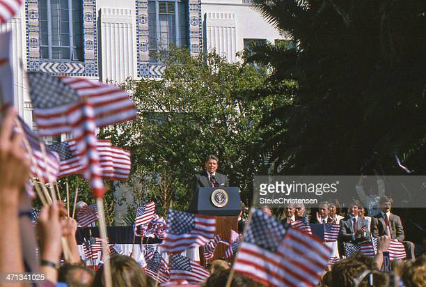 ronald reagan rally - presidential election stock pictures, royalty-free photos & images