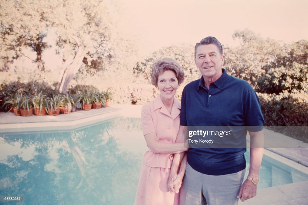 Ronald Reagan relaxes with his wife Nancy at their Pacific Polisades home following his defeat by Gerald Ford for the presidential nomination.