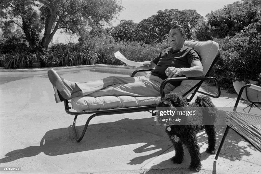 Ronald Reagan shares a laugh with his wife Nancy (not pictured) while relaxing in his Pacific Polisades home following his defeat by Gerald Ford.