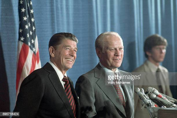 Ronald Reagan stands at the podium at his hotel after losing the Republican presidential nomination to President Gerald Ford at the 1976 Republican...