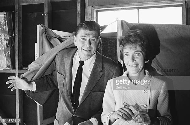 Ronald Reagan stands with his wife Nancy after voting in the California primary of June 1966 Reagan a former actor was elected in 1966 as...