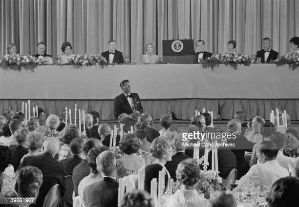 Ronald Reagan the Governor of California addresses a dinner hosted by US President Richard Nixon at the Century Plaza Hotel in Los Angeles for the...