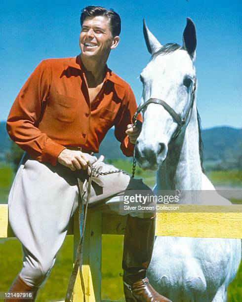 Ronald Reagan US actor wearing a red shirt and white trousers with brown riding boots sitting on a fence beside a white horse circa 1950