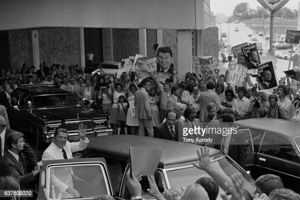 Ronald Reagan waves to supporters following his defeat by Gerald Ford