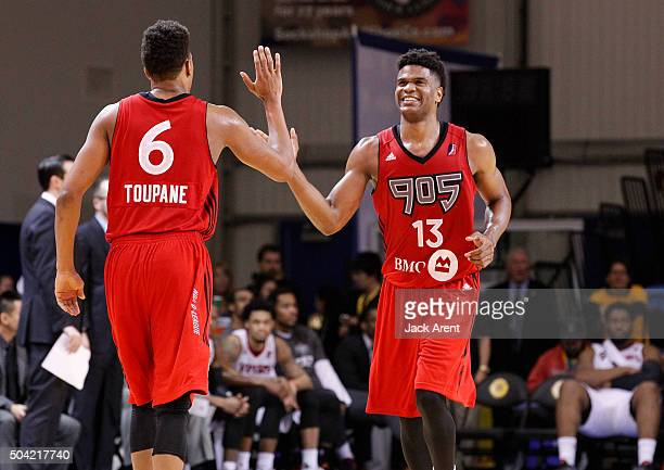Ronald Roberts Jr #13 of the Raptors 905 reacts against the Rio Grande Valley Vipers during Day Four of the 2016 NBA DLeague Showcase on January 9...