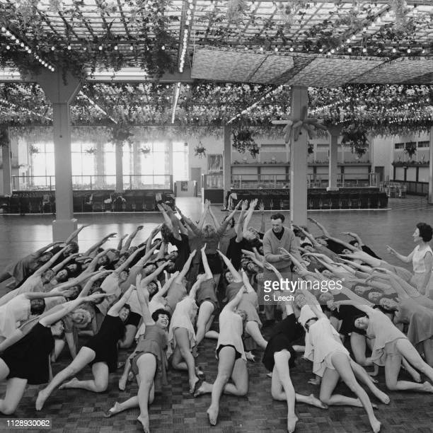 Ronald Stanway leading a fitness class at Butlin's Clacton holiday camp ClactononSea UK 20th October 1963