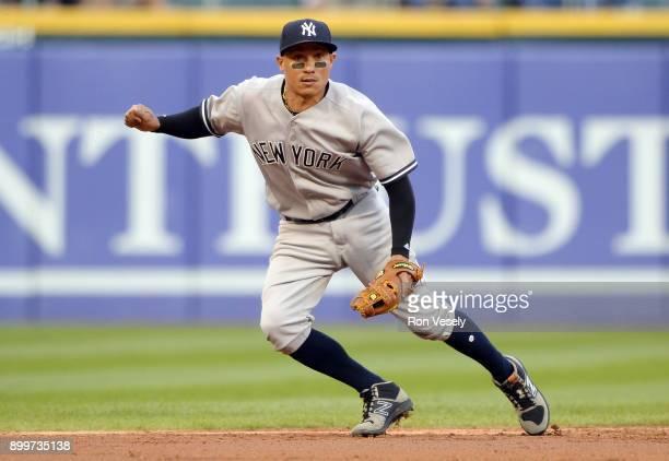 Ronald Torreyes of the New York Yankees fields against the Chicago White Sox on June 26 2017 at Guaranteed Rate Field in Chicago Illinois