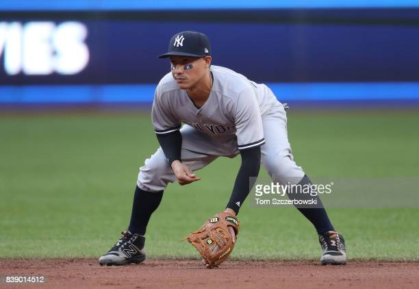 Ronald Torreyes of the New York Yankees gets ready to field his position at second base during MLB game action against the Toronto Blue Jays at...