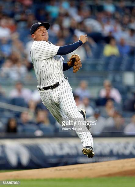 Ronald Torreyes of the New York Yankees in action against the Baltimore Orioles at Yankee Stadium on August 26 2016 in the Bronx borough of New York...