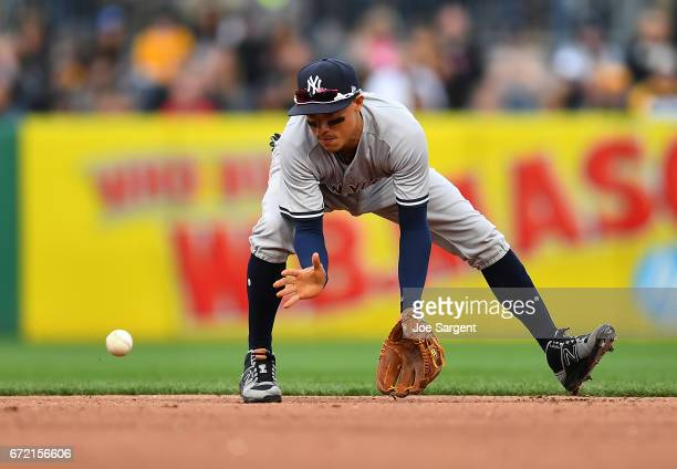 Ronald Torreyes of the New York Yankees in action against the Pittsburgh Pirates at PNC Park on April 22 2017 in Pittsburgh Pennsylvania