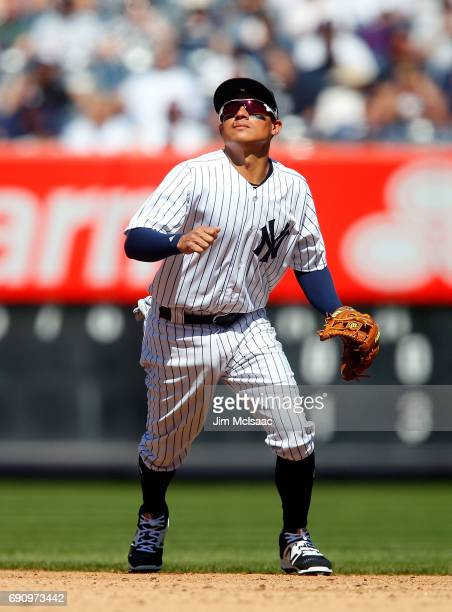 Ronald Torreyes of the New York Yankees in action against the Tampa Bay Rays on Opening Day at Yankee Stadium on April 10 2017 in the Bronx borough...